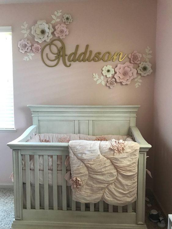 Best Set Of 10 Blush White Paper Flower Wall Decor Girls 400 x 300