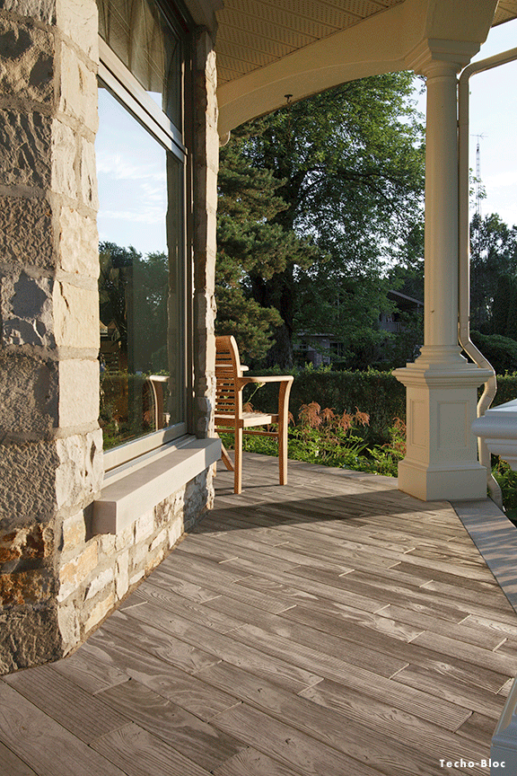 techo-bloc borealis slab - stone that looks like wood! | farm