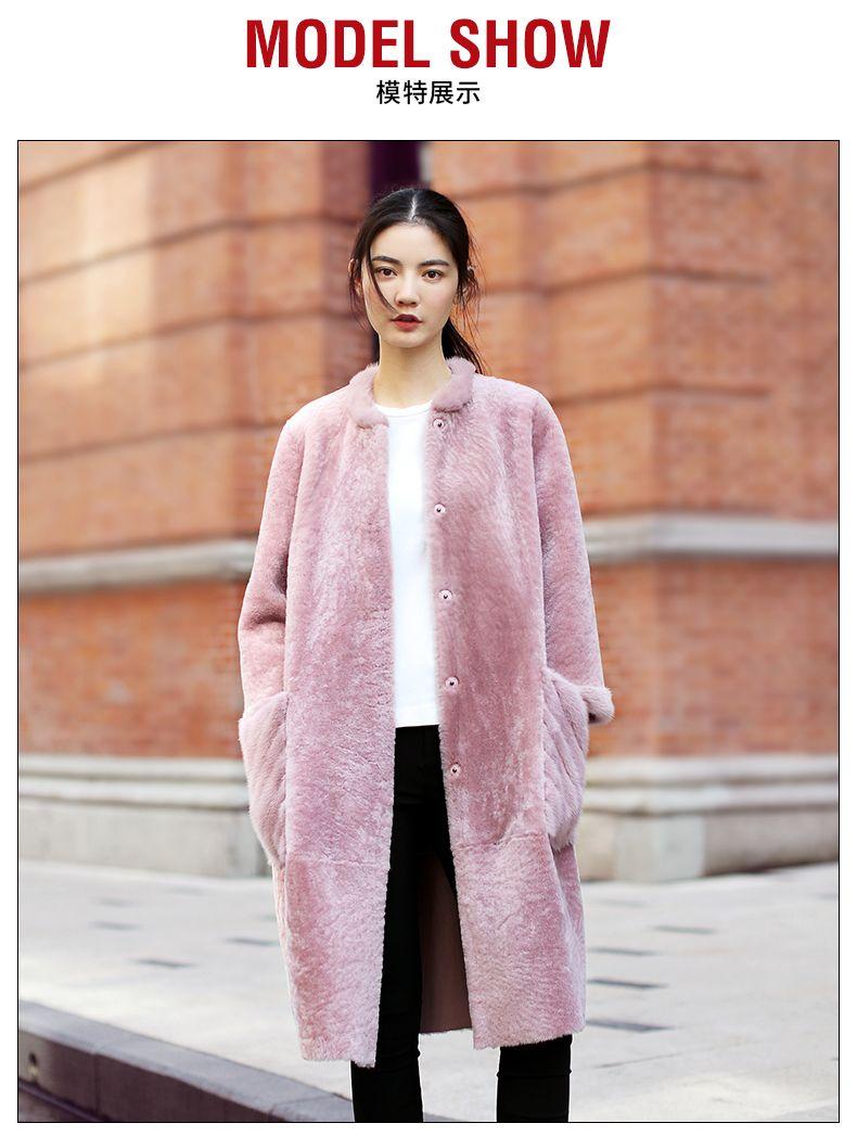 Розовый мех норки один из мутона пальто куртка натуральный пальто с мехом  Зимние куртки женские Меховые 21f94011b38ab