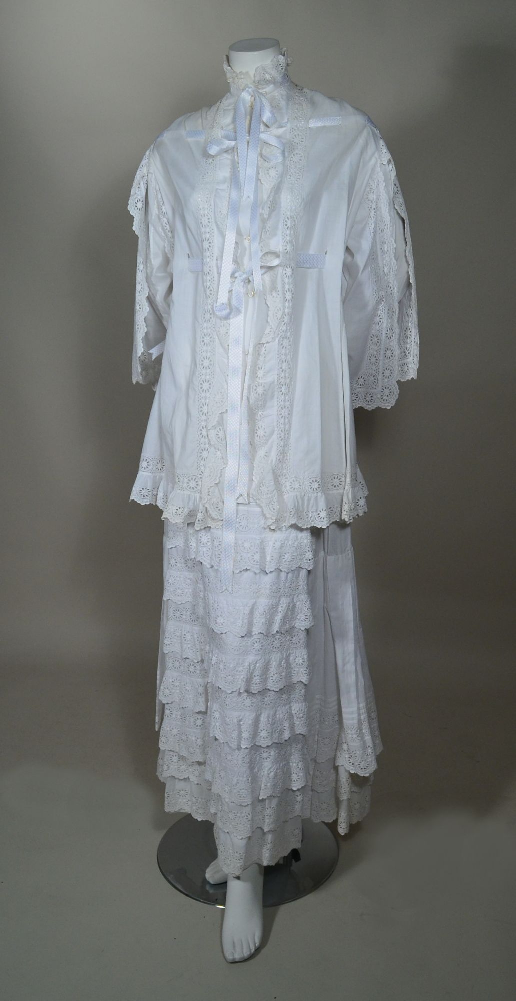 1870's VINTAGE INTRICATE WHITE WORK SWISS EMBROIDERED EYELET AND COTTON LAWN TWO PIECE MORNING GOWN. Front