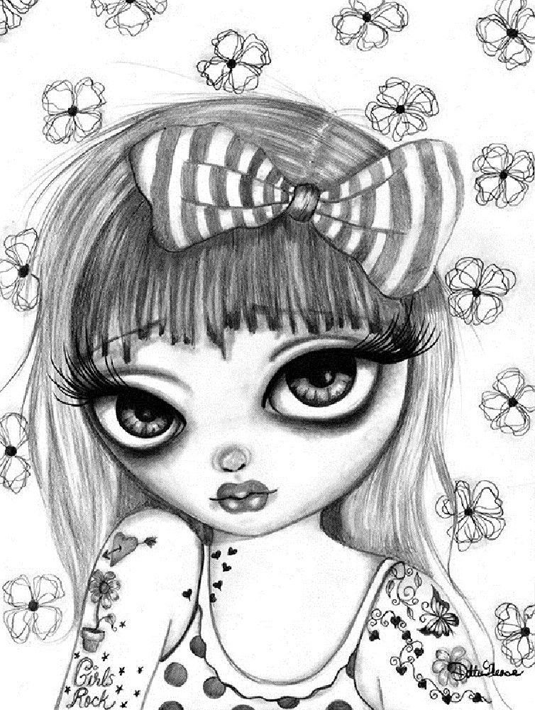 Drina By Dottie Gleason Girl W Girls Rock Tattoo Canvas