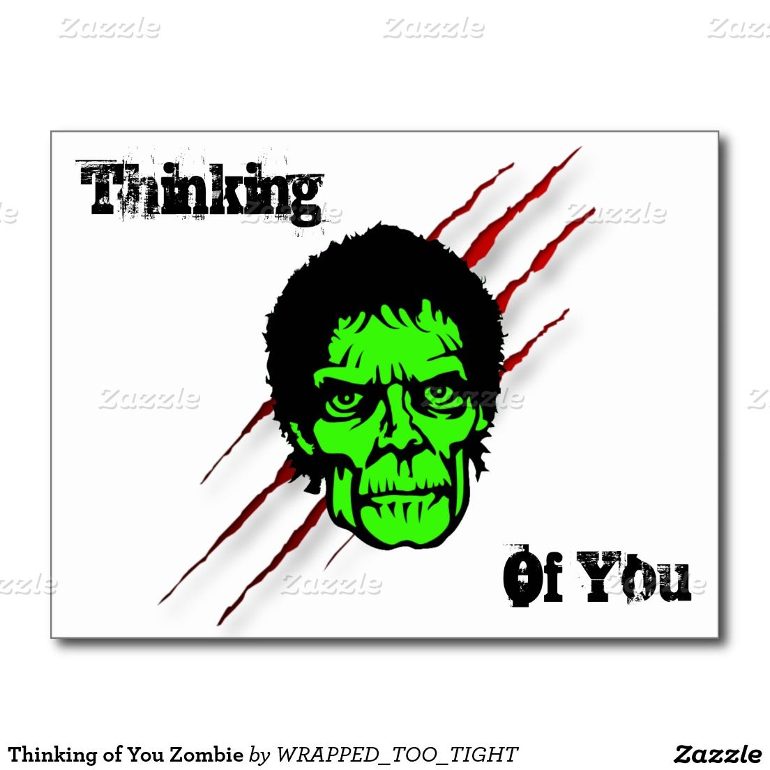 Thinking of You Zombie Postcard