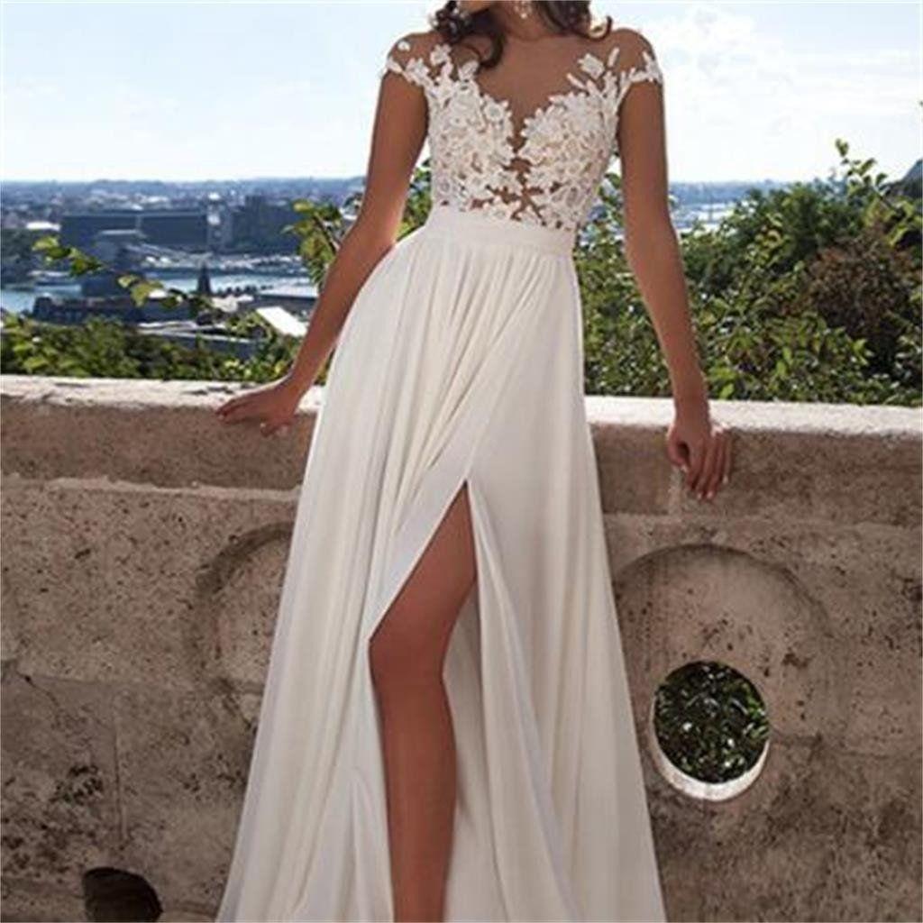 Cap Sleeve White Side Slit Lace Chiffon Long Cheap Prom Dresses