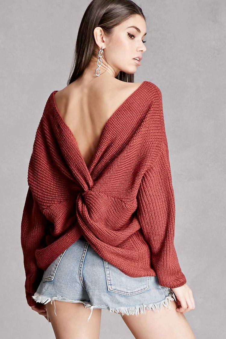 Ribbed Knot-Back Sweater  fc2f763b0