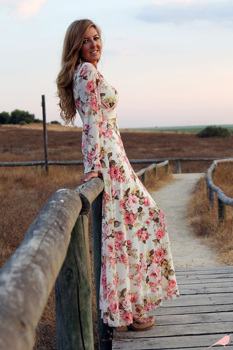 Long printed chiffon maxi dress with long sleeves maxi