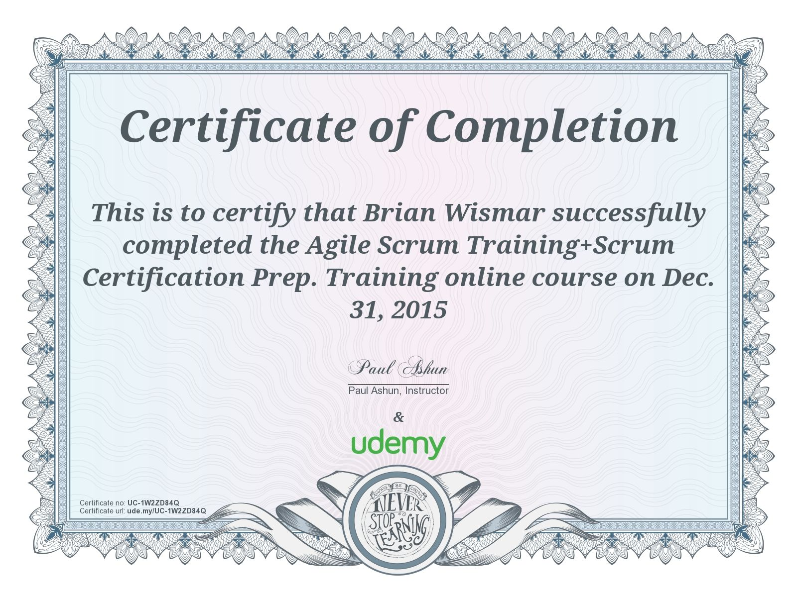Completion Certificate For Agile Scrum Training+Scrum Certification Prep.  Training To Certificate Of Completion Training