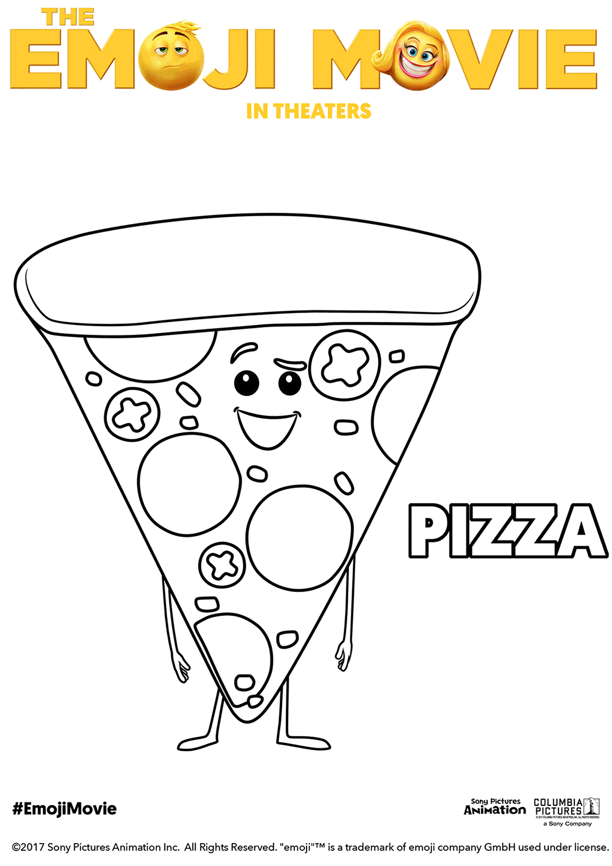 The Emoji Movie Pizza Coloring Page Emoji Movie Emoji Coloring Pages Emoji