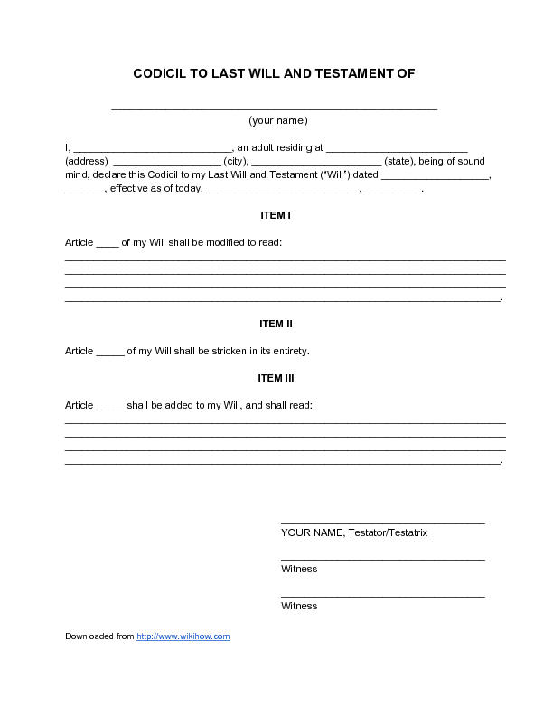 free printable codicil form uk  Sample Codicil to Last Will and Testament - wikiHow - last ...