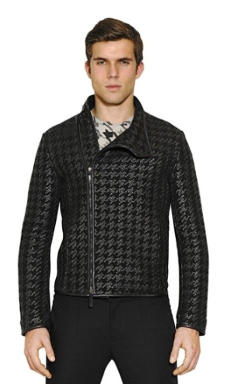 Armani Houndstooth Jacket I Love It Armani Leather Jacket Leather Jacket Men Suede Leather Jacket Mens