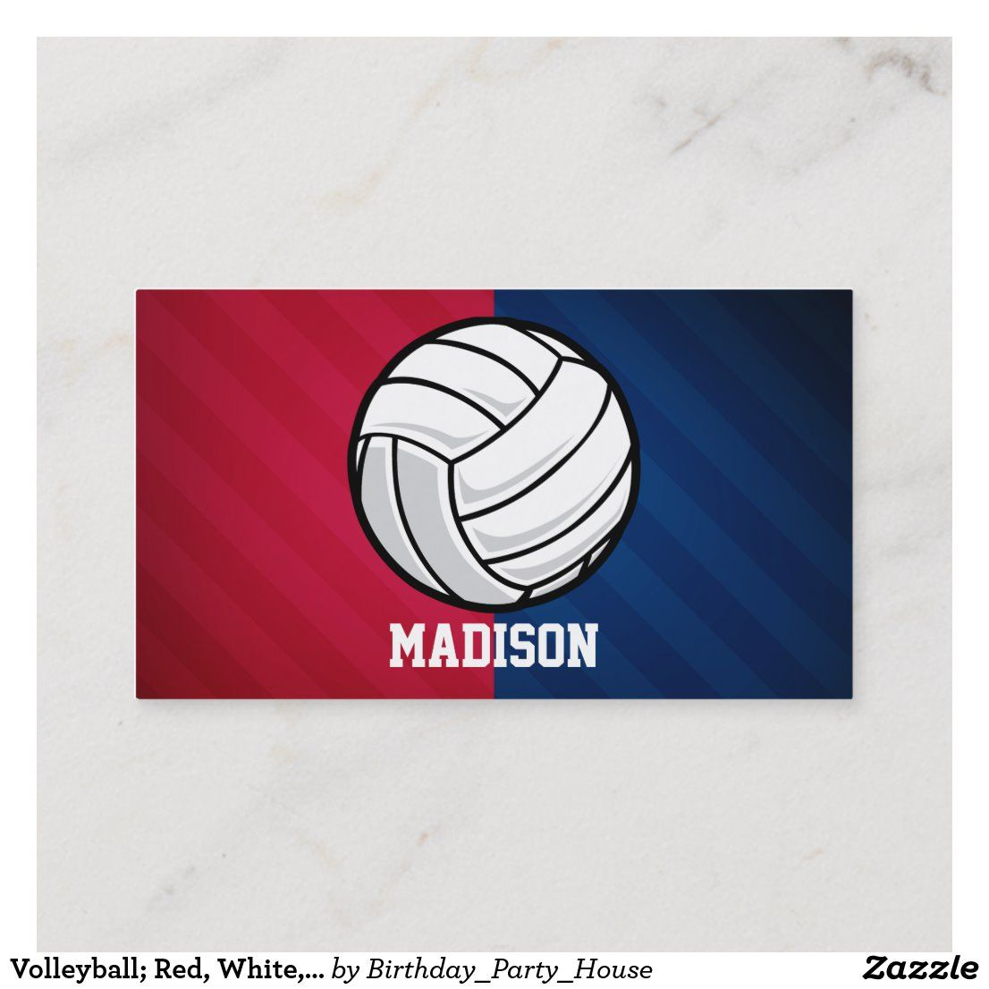 Volleyball Red White And Blue Business Card Zazzle Com In 2020 Blue Business Card Printing Double Sided Cards