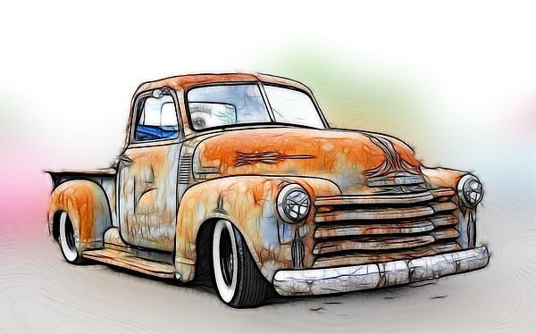Ready To Hang Chevy Pickup Wall Art Home Decor Patina Pickup Canvas Print Set