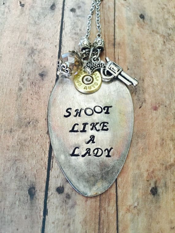 Hey, I found this really awesome Etsy listing at https://www.etsy.com/listing/204251667/shoot-like-a-lady-spoon-necklace-with