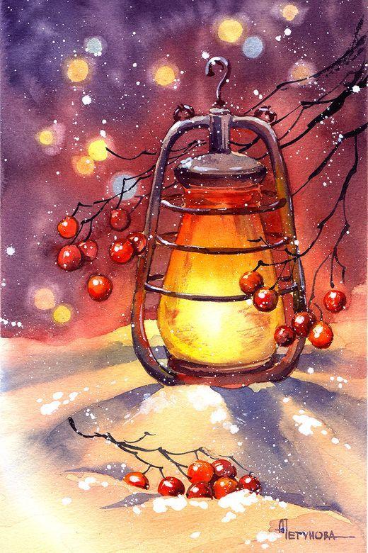 Aquarell Lampe Aquarell Weihnachten Aquarellbilder Aquarellmalerei