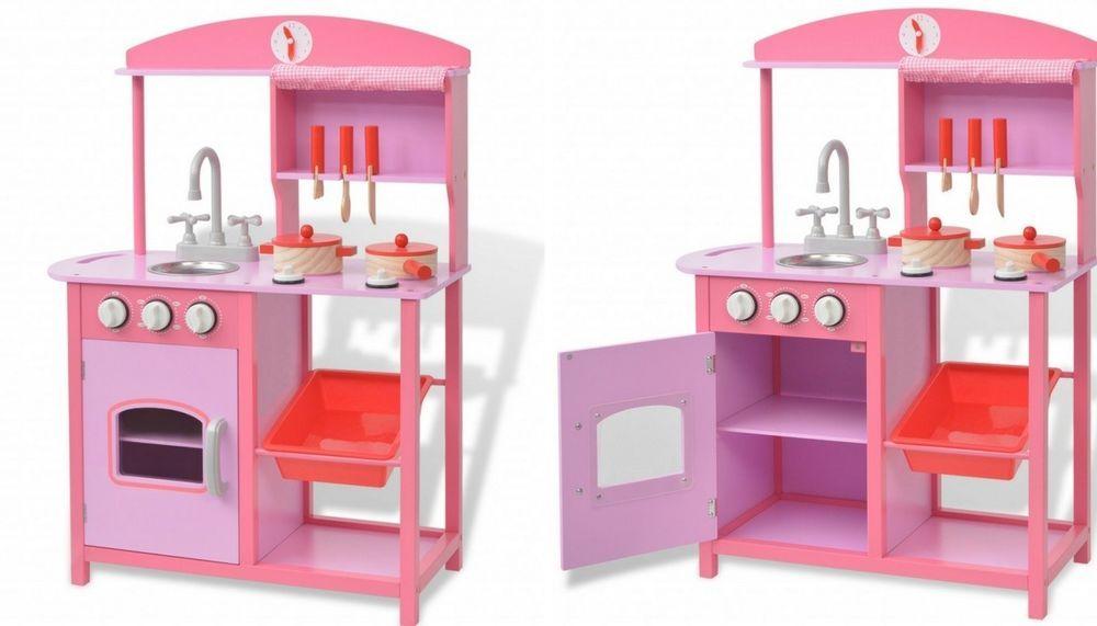 Girls Pink Kitchen Wooden Pretend Role Play Activity Toy Kids