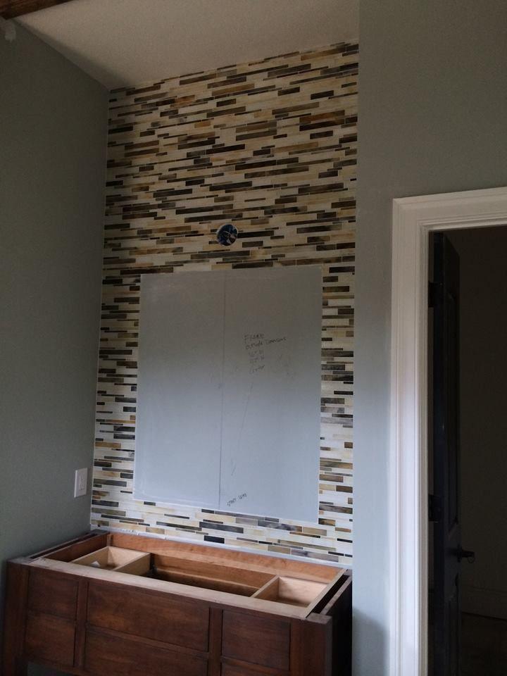 """catwalk"" mosaic strips behind each master vanity- October 2014 #idealcabinets #woodmode"