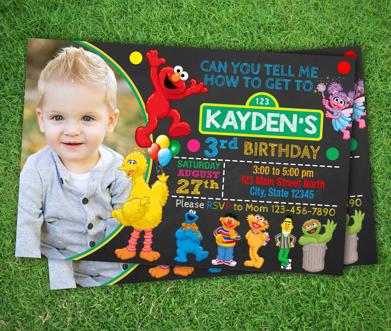 Invitation birthday birthday invitation sesame street