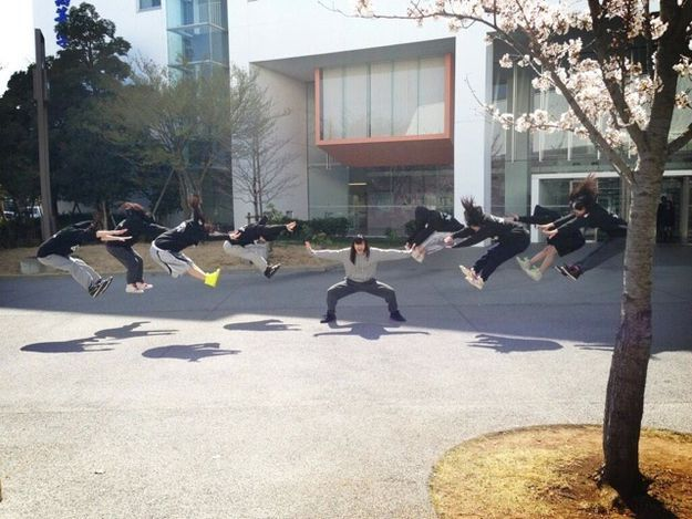 This is a huge trend to take a photo like this in Japan right now. It's from the Anime Dragon Ball Z.