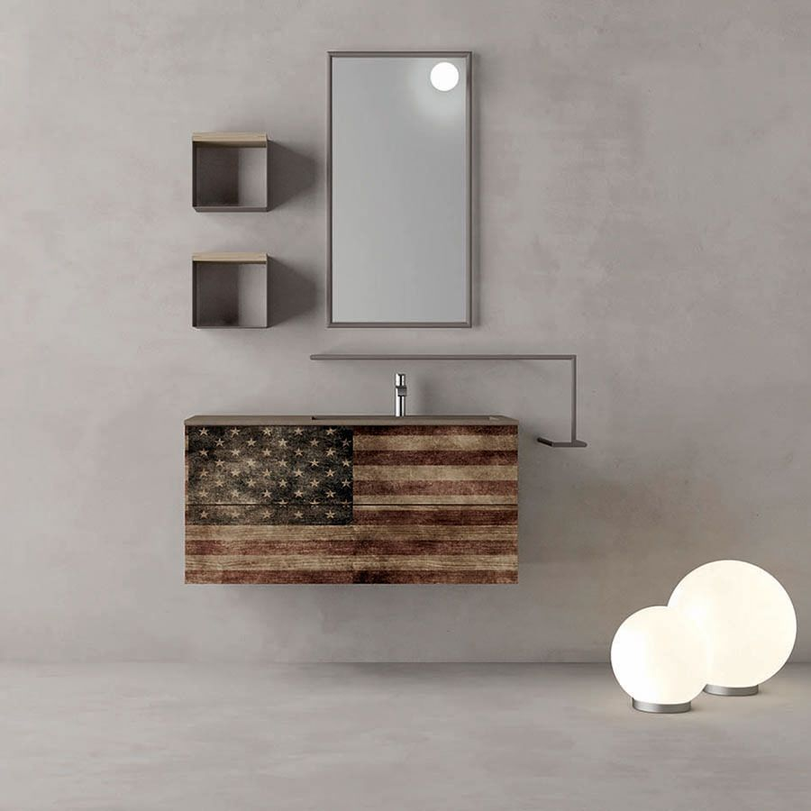 stile underground look vintage ispirato al design old america composizione mobile bagno vintage