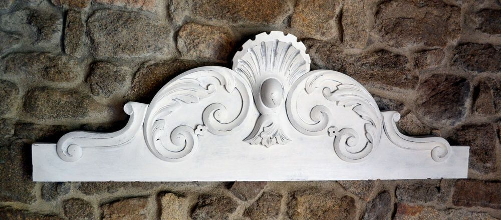 Large Antique French Pediment Fronton Wall Above Door Bed