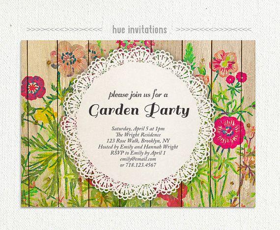 Shabby Fl Garden Party Invitation Watercolor Wildflower Rustic Woodgrain Lace Doily Bridal Brunch I Do Bbq Invite Birthday 214 On Etsy 20 00