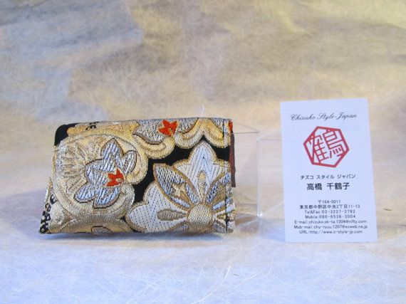 Japanese Credit Card Case Golden Arabesque Kimono by KimonoTango
