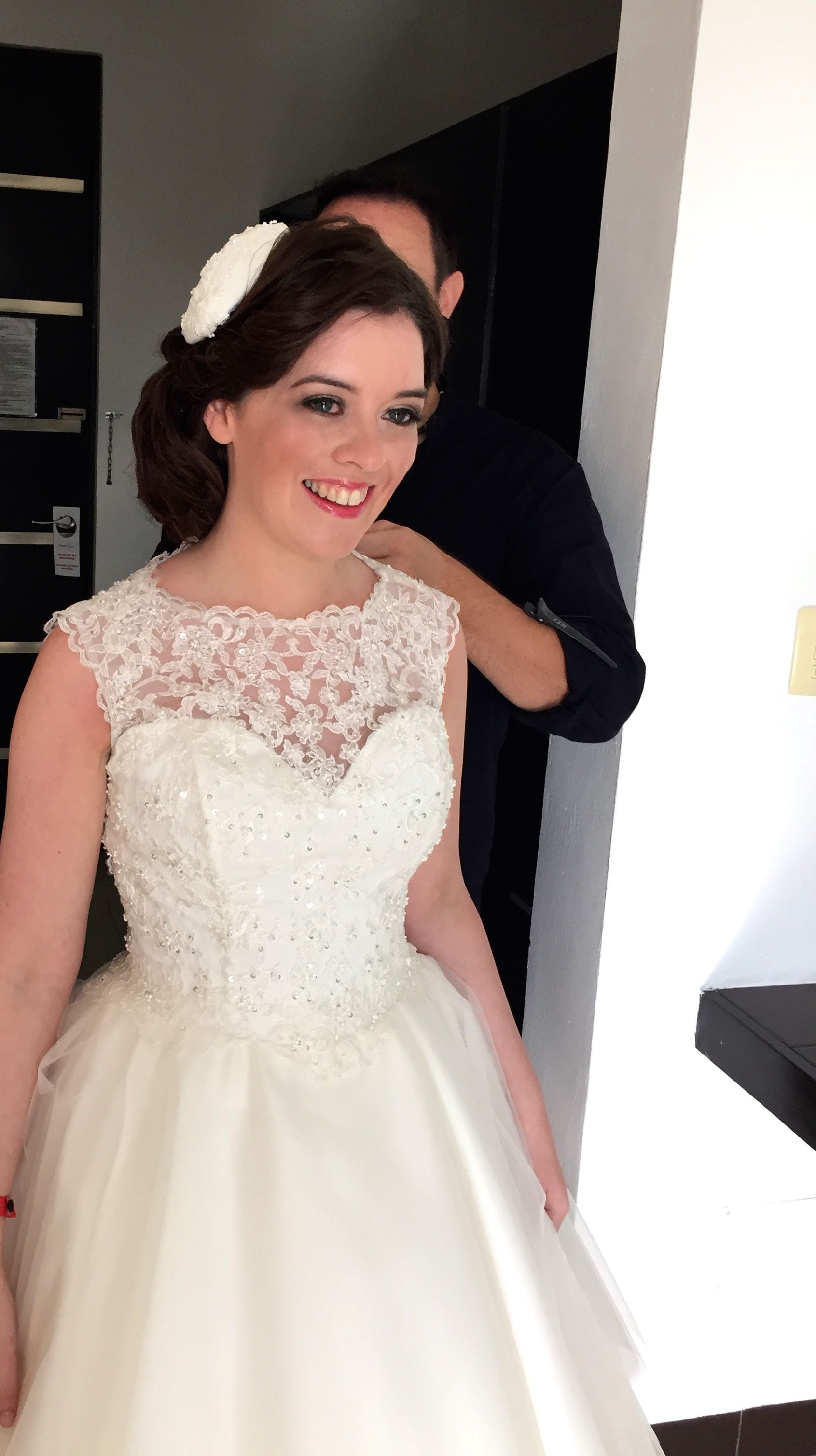 Jackie Onassis inspired wedding hair and dress on a very happy ...