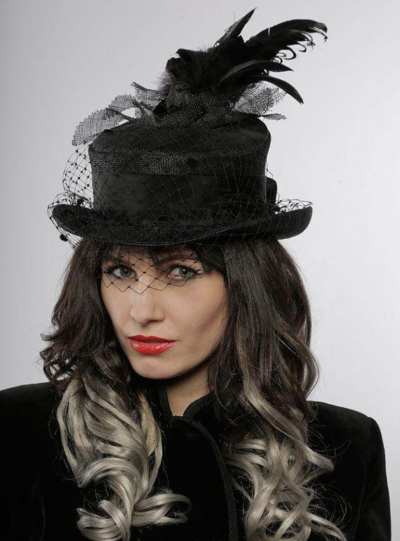 Black Top Hat Bird Birdcage Veil Gothic Style Etsy Black Top Hat Burlesque Style Burlesque Outfit
