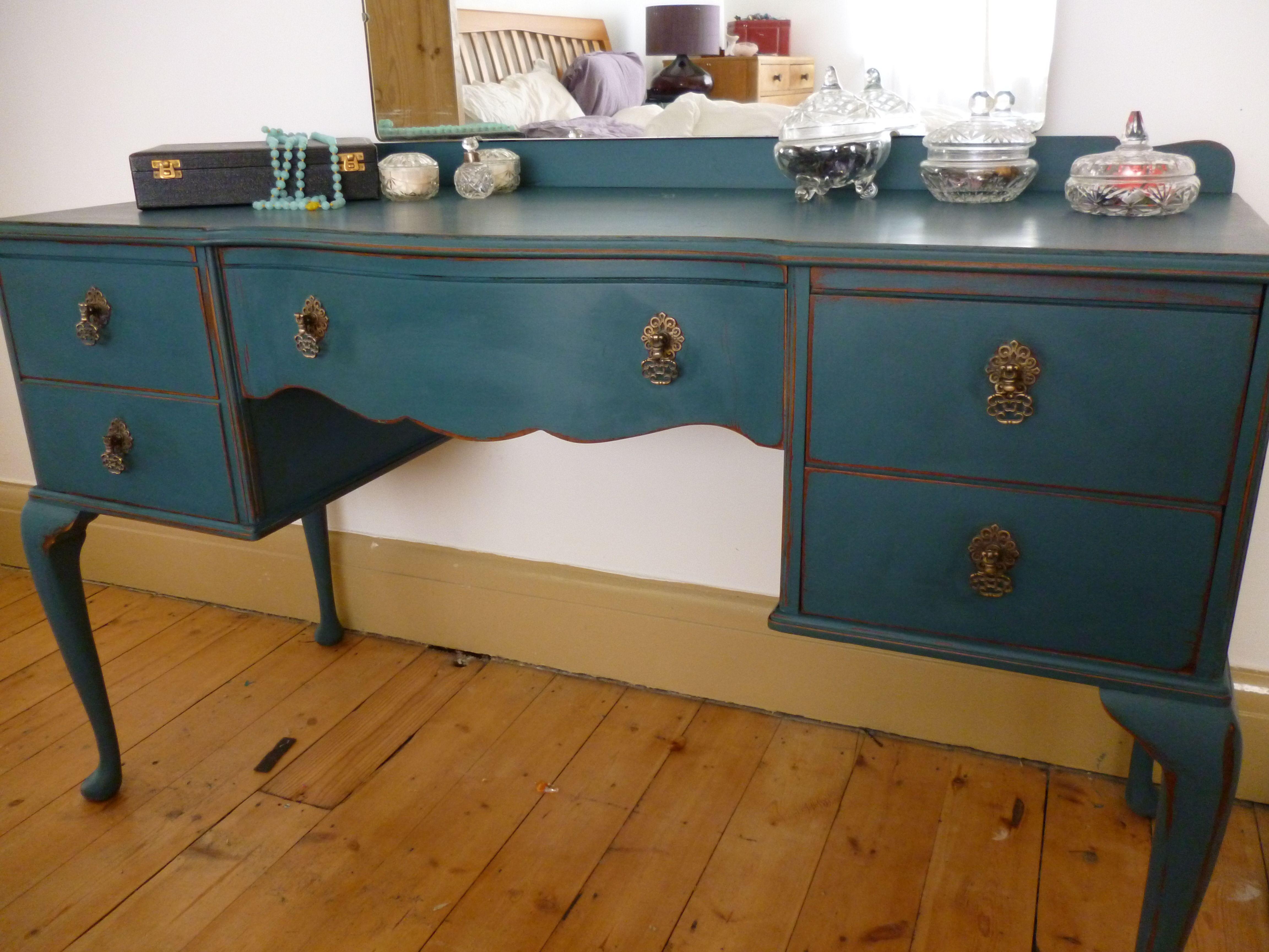 Mobili Verniciati ~ My fabulous dressing table in autentico byzantine shabby in blue