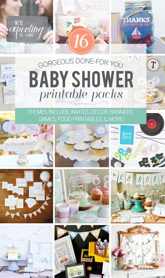 Download the Ultimate Baby Shower Bundle with FOURTEEN different themed packs for the most popular baby shower themes via @PagingSupermom #babyshower #printables