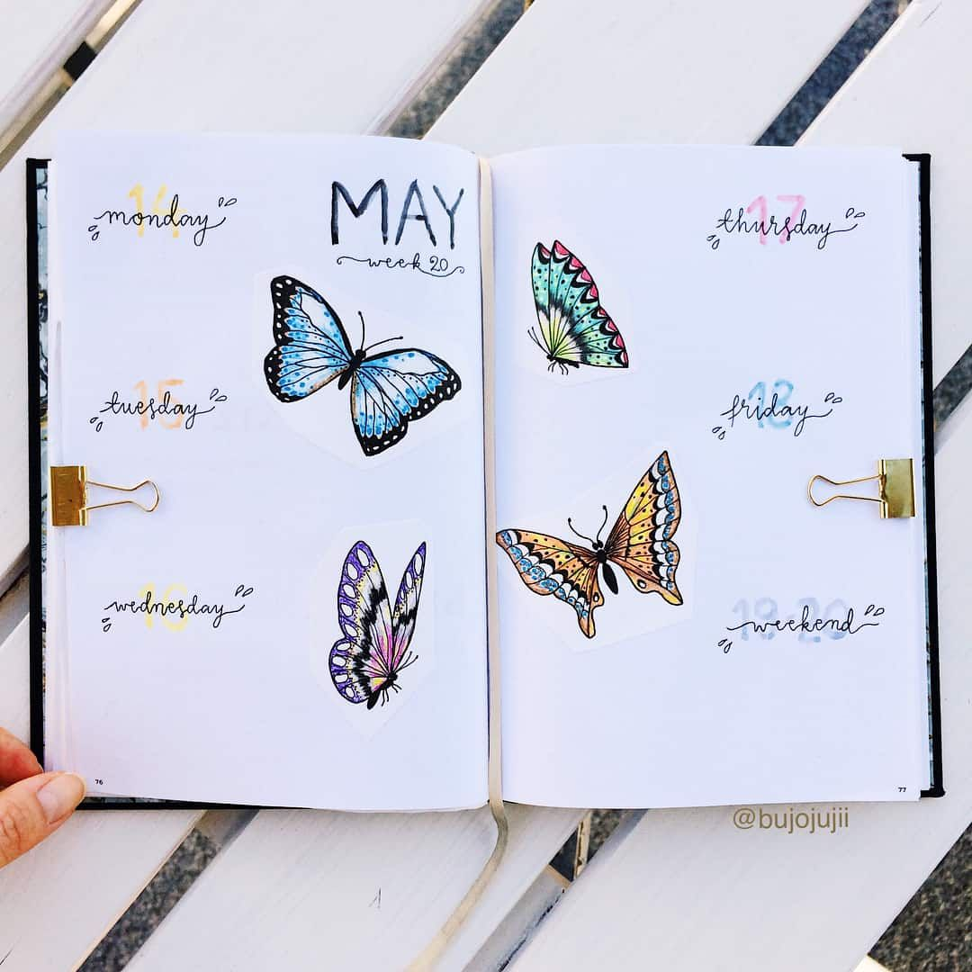 57+ Amazing Butterfly Bullet Journal Spreads | My Inner Creative