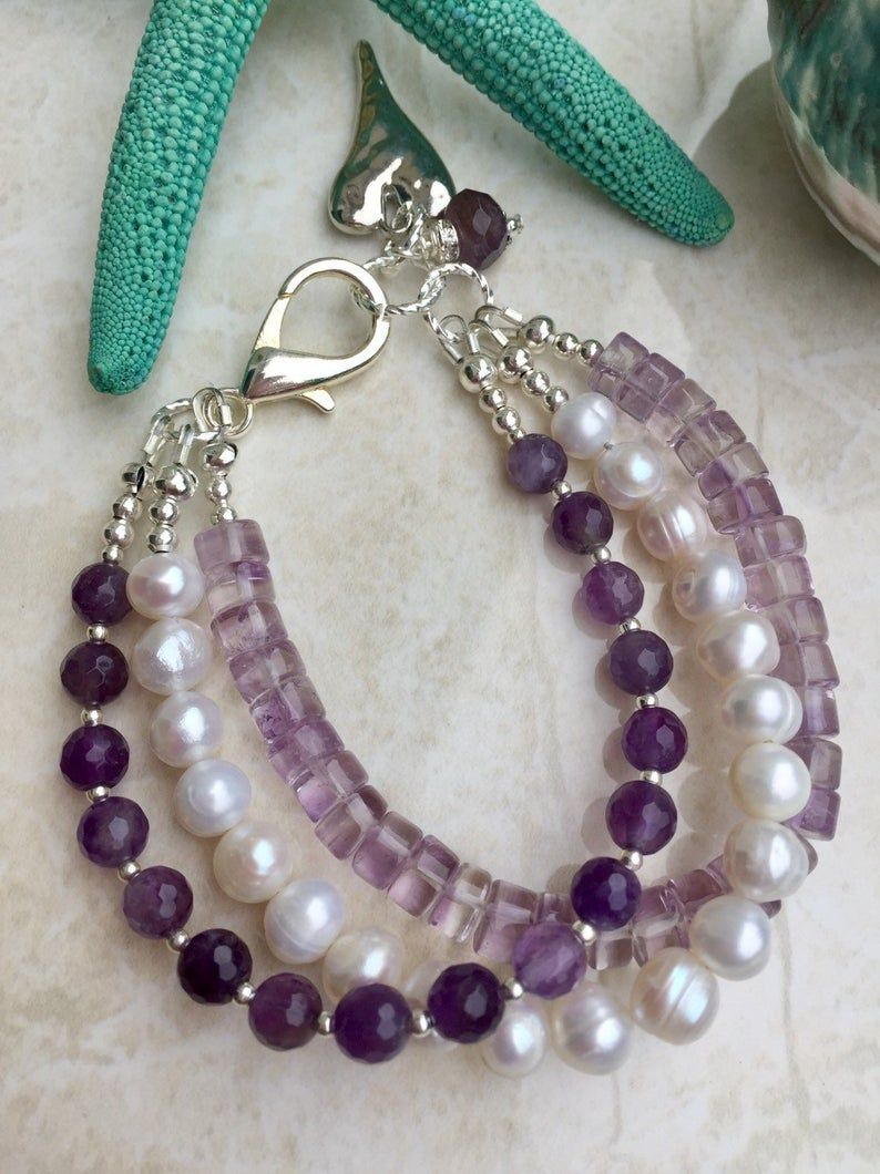 Triple strand bracelet , amethyst and pearl bracelet , February birthstone , June birthstone