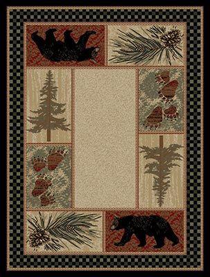 Pine Forest Bear Rug Bear Rug Cabin Rugs Bear Area Rug