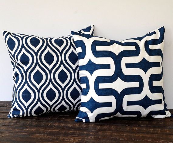 Throw pillow covers 20 x 20 inches pair of two cushion covers decorative pillows new navy blue and white nautical beach decor