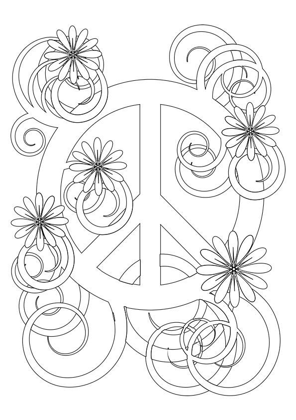 picture regarding Printable Peace Sign referred to as Basic and Beautiful Free of charge Printable Rest Indicator Coloring