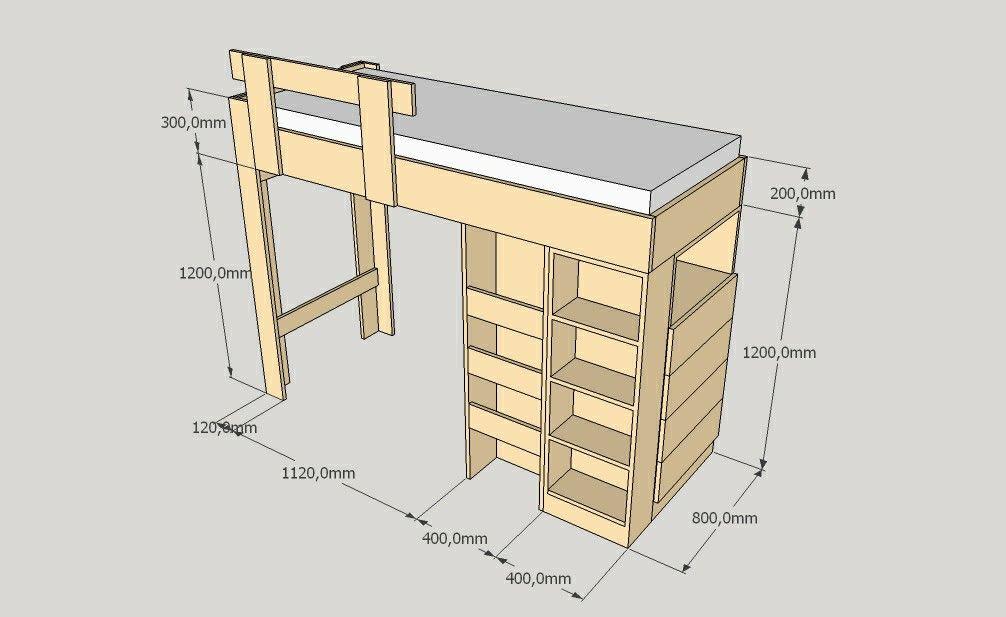 Plano 3d Elaborado Previo A La Fabricación De Una Litera De Madera
