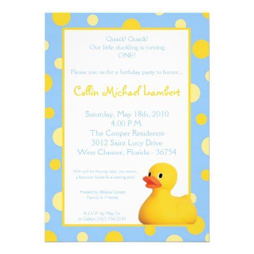 5x7 yellow blu rubber ducky birthday invitation cynthias first 5x7 yellow blu rubber ducky birthday invitation filmwisefo Image collections