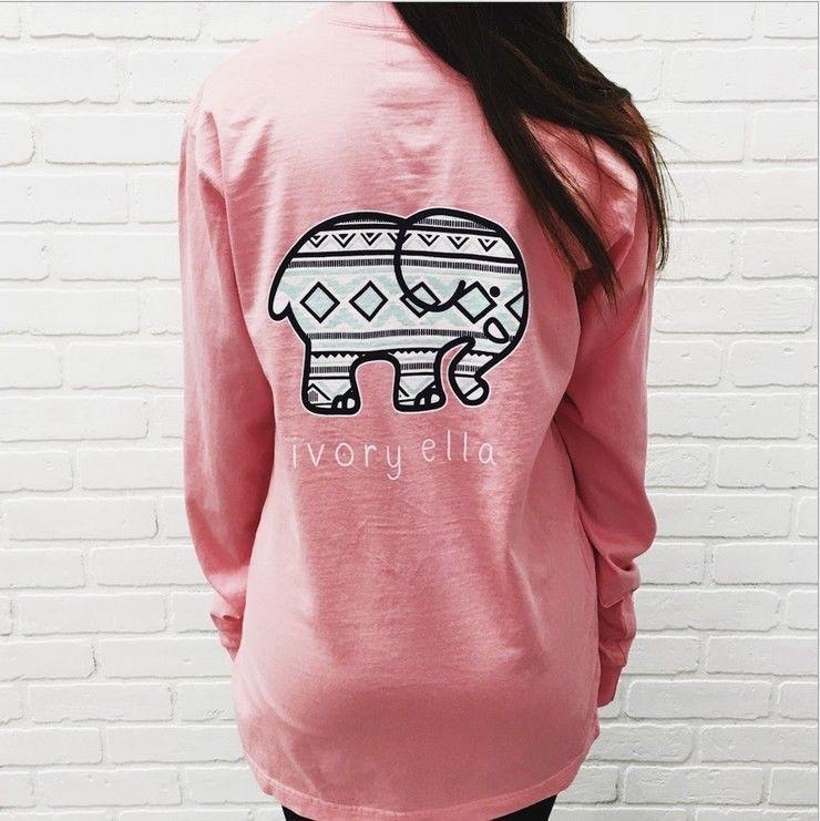 b72324d1bb17f Womens Elephant Ivory Ella Print Fashion Girls Casual Long Sleeve T-Shirts  Pink