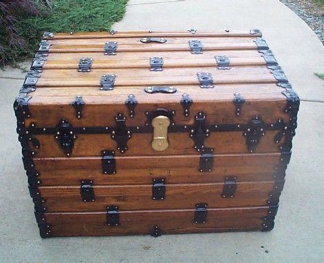 All Wood Flat Top Antique Steamer Trunk