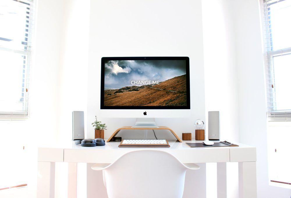 Home Desk With Free Imac Mockup Home Desk Imac Mockup Psd Home Desk Imac Home