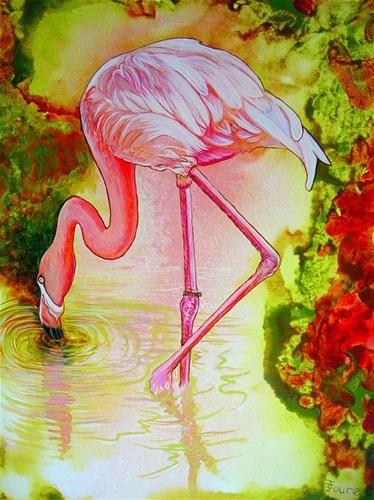 """Flamingo"" - Original Fine Art for Sale - © Judith Jewer"