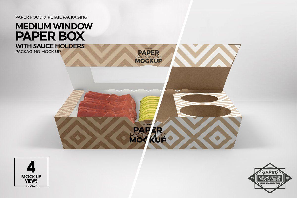 Download Paper Window Sushi Box Medium Mockup Box Mockup Free Packaging Mockup Paper Box