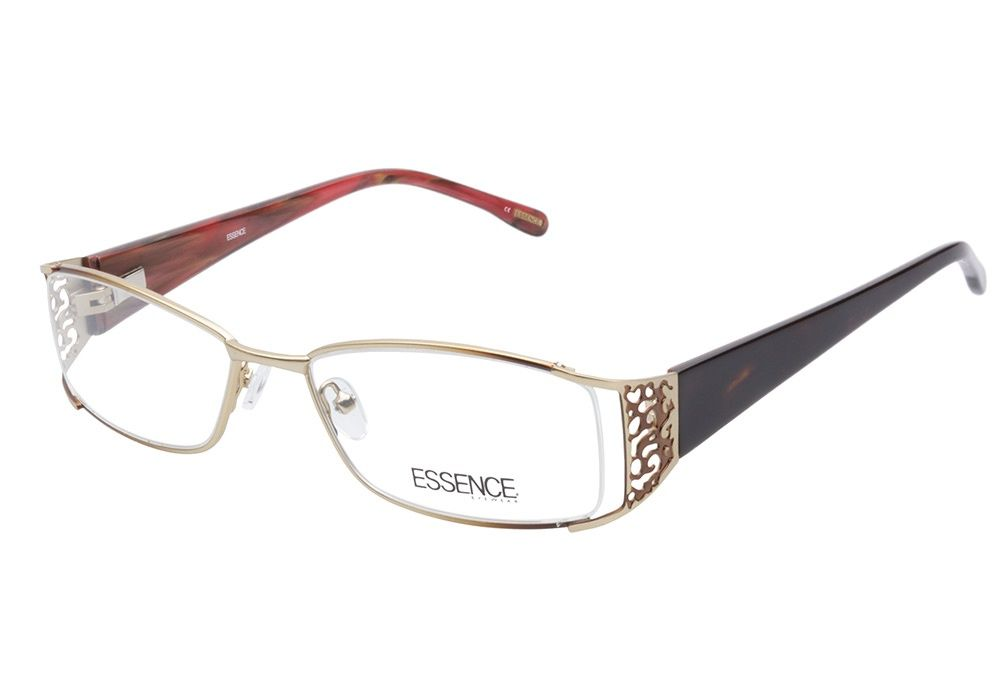 585ab94fd7 Essence Kenya 00A Gold Brown eyeglasses are demurely edgy. This fiery style  comes with a polished gold metal frame with the softened rectangular lenses  ...