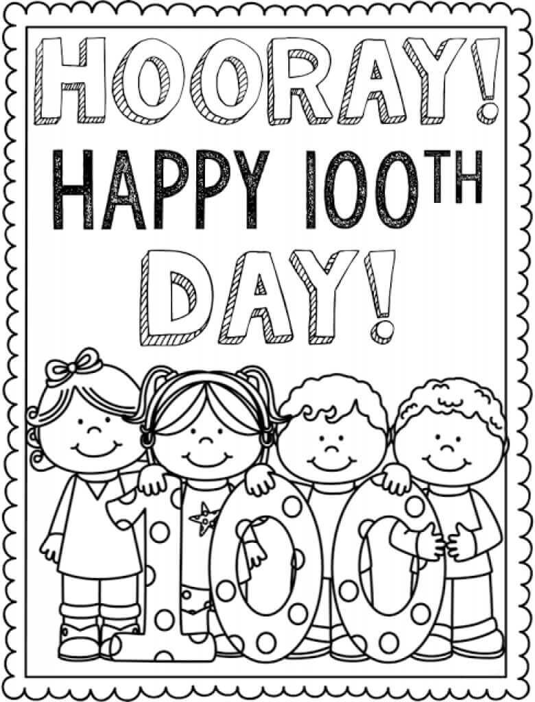 Free Printable 100 Days Of School Coloring Pages 100th Day Of