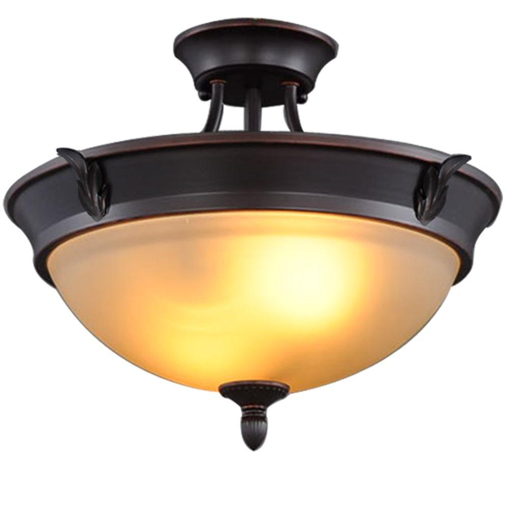 Hampton Bay 15 In 2 Light Oil Rubbed Bronze Semi Flush Mount With Tea Stained Glass Shade S351ju02 The Home Depot Semi Flush Mount Lighting Flush Mount Lighting Flush Mount Ceiling Lights Oil rubbed bronze ceiling light fixtures