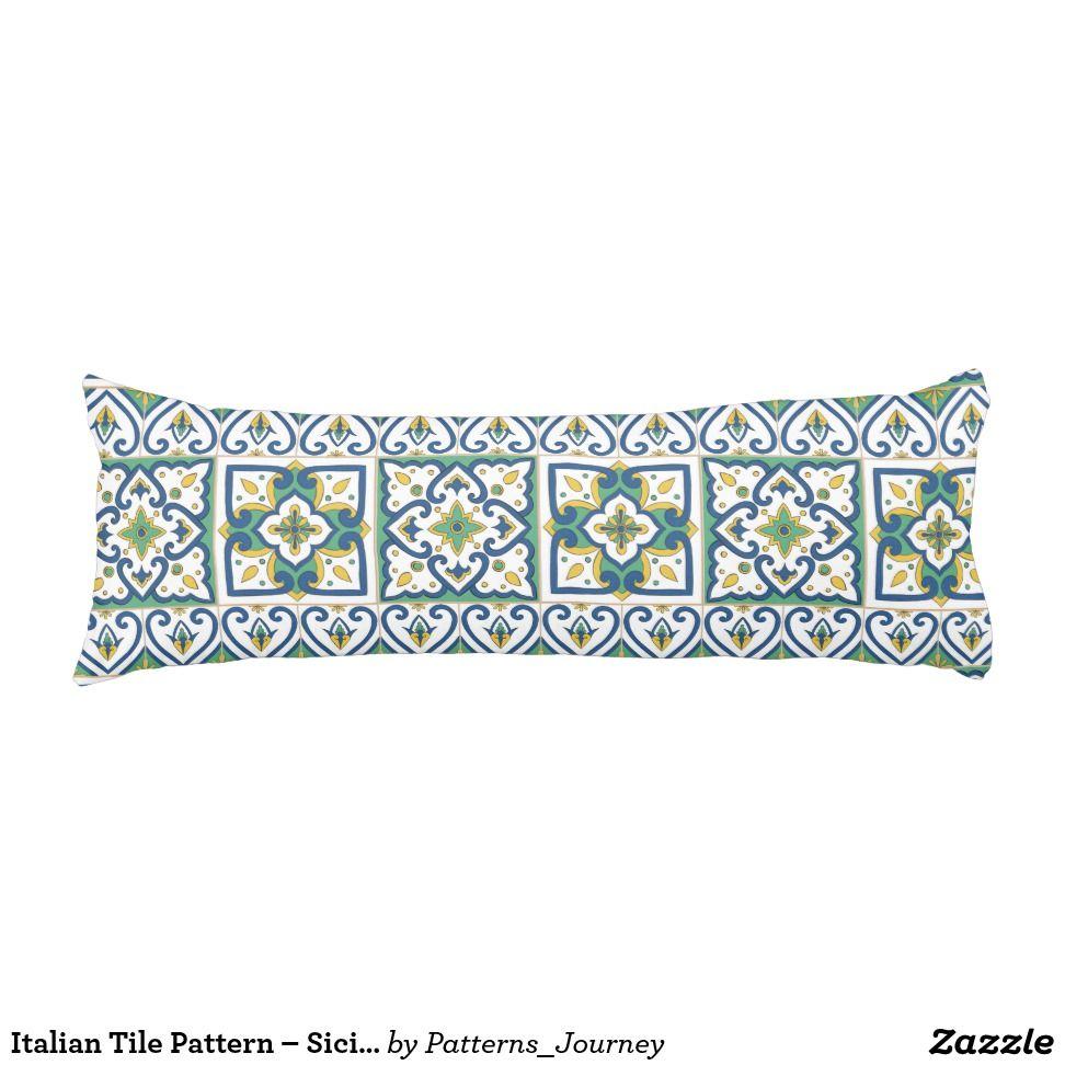 Italian tile pattern u sicilian ceramic body pillow pillows and