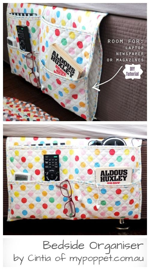 Diy Bedside Pocket Organizer Free Sewing Pattern Tutorial Sewing Pattern Storage Sewing Basics Diy Sewing Projects