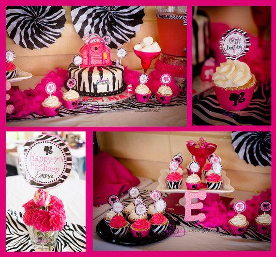 Barbie Zebra Theme 1st And 5th Birthday: Barbie Birthday Party Printable Decor By