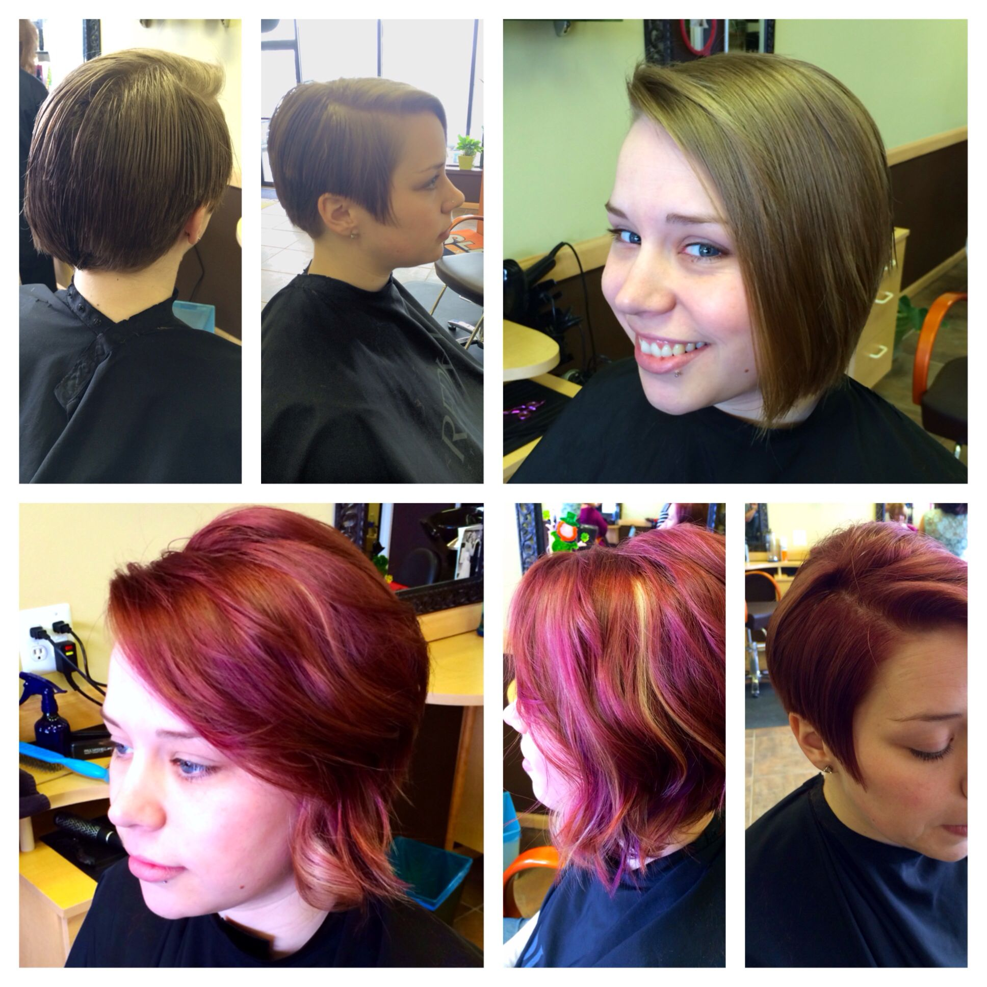 before on top, my work on bottom! Hair, Style, Color