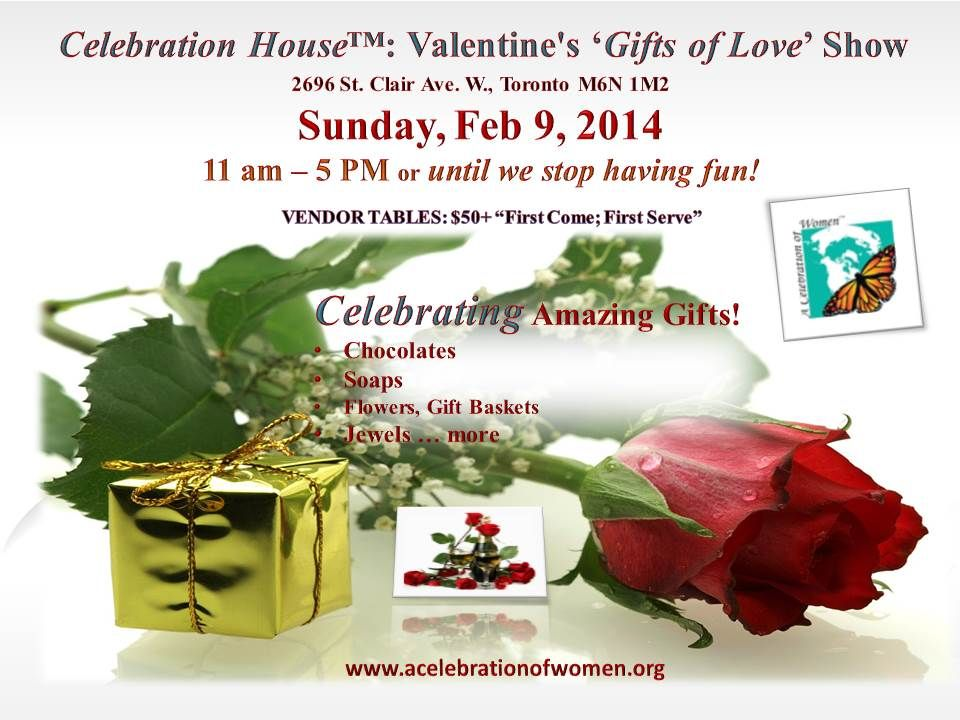 VALENTINE'S GIFTS OF LOVE SHOW FEB 9 in TORONTO , CANADA  REGISTER NOW.