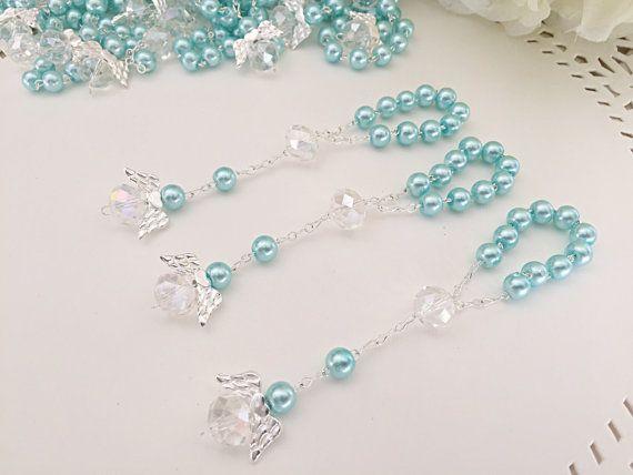 35 pcs Angel baptism favors  blue communion favors  recuerditos para  bautizo   finger rosaries  chr d8cf03f6a4
